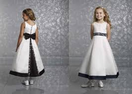 girls black and white dress button bow dress