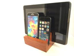 wood phone dock tablet stand docking station charging