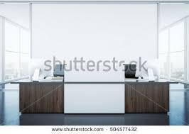 Modern Reception Desk White Reception Desk Blank Banner Interior Stock Illustration