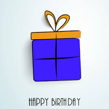 blue and yellow ribbon happy birthday greeting card or invitation card with beautiful