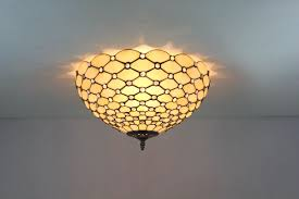Flush Mount Stained Glass Ceiling Light Tiffany Style Modern Glass Raindrop Flush Mount Parrotuncle