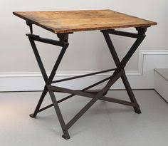 Modern Industrial Furniture by 1950 French Unic Studio Iron Counterbalance Drafting Table