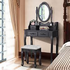 black makeup desk with drawers black vanity dressing table makeup desk w 4 drawers mirror bedroom