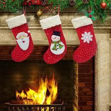 wholesale christmas decorations 3 pieces set mini christmas socks santa claus candy gift