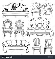 Armchair Sofa Bed Furniture Set Armchair Sofa Bed Chair Stock Illustration 276793709