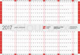 yearly wall calendar planner template for 2017 year vector design