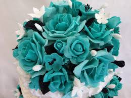turquoise roses rosette cake with turquoise roses cakecentral