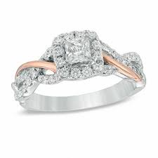 zales outlet engagement rings 3 4 ct t w princess cut frame engagement ring in 14k two