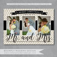 Newlywed Cards Chevron Newlyweds Christmas Card New Mr And Mrs Married