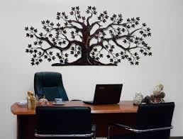 wall design ideas steel wooden tree of wall metal