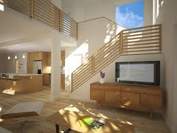 living room design with stairs of new modern home interior design