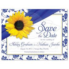 Royal Blue Wedding Invitation Cards Wedding Save The Date Announcement Sunflower Royal Blue Damask