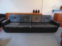 Black Leather Mid Century Sofa Vintage 1960 S Black Leather Four Seater Sofa Mid Century Retro
