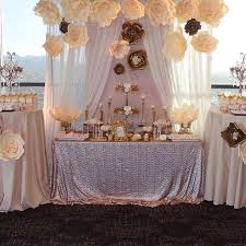 Candy Buffet Wedding Ideas by Ivory Brown And Glittery Gold Sweets And Treats Table For Wedding