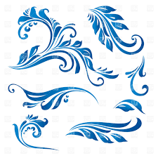Decorative Line Clip Art Decorative Curly Twigs With Leaves Vector Clipart Image 8498