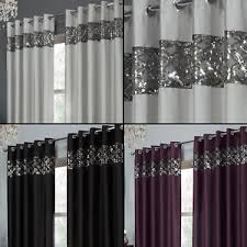 Glitter Curtains Ready Made Sequin Sparkle Faux Silk Eyelet Ring Top Curtains Black Silver