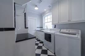 black white marble laundry room transitional with farmhouse