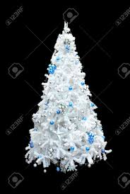 a beautiful white artificial tree with blue and silver