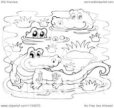 cartoon of a coloring page of crocodiles in a swamp royalty free