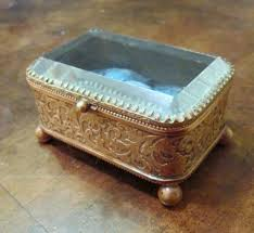 vintage brass with beveled glass top trinket box circa 1910 from
