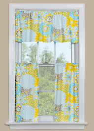 Blue Yellow Kitchen - window curtain with floral design in blue yellow and grey
