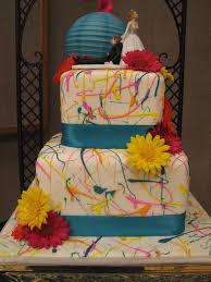 decadent designs keri u0027s paint splatter wedding cake and cupcakes