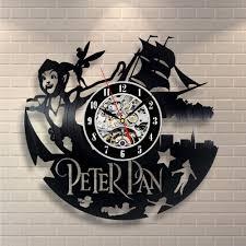 1piece 3d modern wall art peter pan cut out lp clock vinyl record