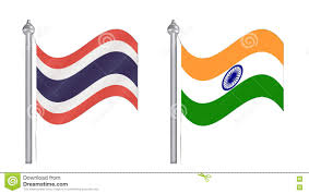 Flag Of Thailand Flag Of Thailand And India Flying Flag For International Relati