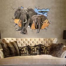 chambre style africain africain éléphant 3d style decal wall sticker accueil papier