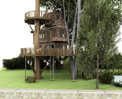 architecture wonderful tree house desings with sulpted 2 trees