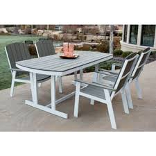 White Aluminum Patio Furniture by Winston Outdoor Powder Coated White Aluminum Grey 5 Piece Dining