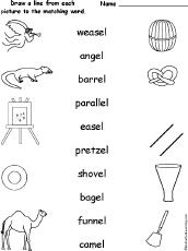 words ending in el alphabet activities at enchantedlearning com
