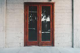 clear glass door brown wooden frame clear glass door free image peakpx
