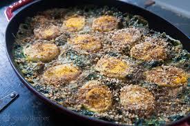 dinner egg recipes spinach gratin with hard boiled eggs recipe simplyrecipes com
