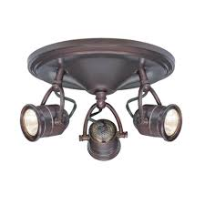 Ceiling Lighting Fixtures by Hampton Bay 3 Light Antique Bronze Round Base Pinhole Ceiling