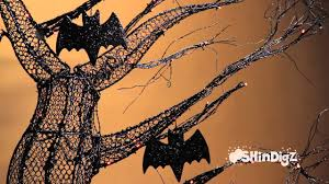 decorated halloween trees spooky lit halloween tree with bats shindigz halloween