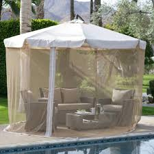 Mosquito Netting For Patio White Outdoor Patio Offset Umbrella With Aluminum Tilt And Brown