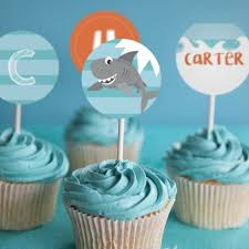 shark party cupcake toppers shark birthday decorations