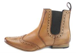 frank james harrow mens pointed toe leather brogue chelsea boots