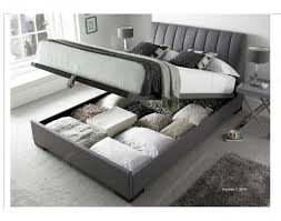 Grey Ottoman Bed Kaydian Lanchester 4ft6 Double Grey Fabric Ottoman Storage Bed By