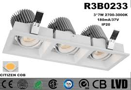 Led Recessed Downlight Triple Head Square Tiltable Led Recessed Downlight Low Heat Sink