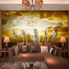 canap de charme charme des prairies papier peint personnalisé 3d chevaux photo