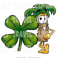 clipart of a friendly palm tree mascot cartoon character with a