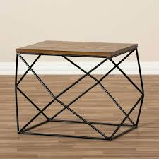 wire and wood basket side table side table wire side table storage basket natural black hack and