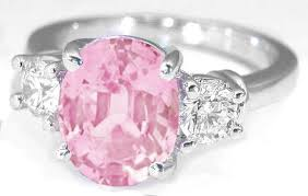 baby rings jewelry images Classic three stone light pink sapphire and round diamond rings in jpg