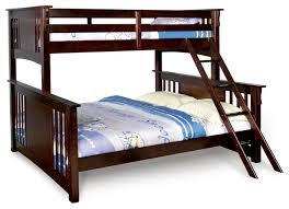 Wooden Bunk Beds Twin Over Queen Xl Long Combo Bunk Bed Dark Walnut Sturdy Hard