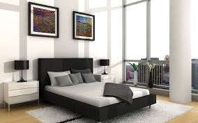 Black And White Laminate Floor Astounding Modern Bedroom With Black Bed Combined White Mattress
