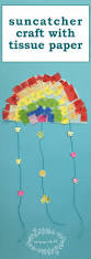 suncatcher craft with tissue paper stained glass rainbows