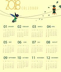 Calendar 2018 Ai Template 2018 Calendar Template Woodpecker Icons Decoration Free Vector In