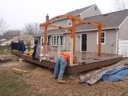 yardley pa composite deck building with railing u0026 pergola